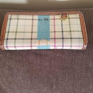 Coach long zip around leather trim purse